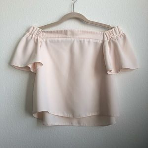 Topshop pink off shoulder ruffle sleeve crop top